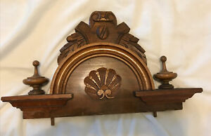 French Or American Antique Pediment Walnut Wood Fabulous Salvage!