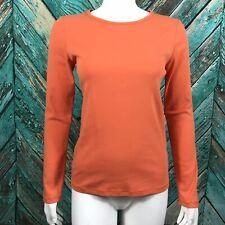 Boden Women's Shirt 8 Long Sleeve Solid Orange Crew Neck Cotton Stretch