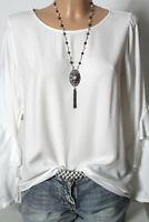 ESPRIT Bluse Gr. 36 creme-weiß Langarm Bluse/Tunika mit Rüschen Ärmeln