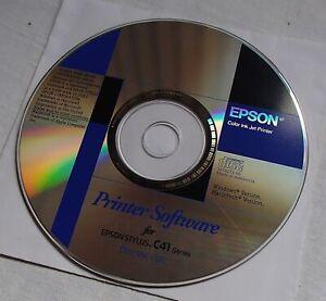 Epson Stylus C41 Series Colour Inkjet Printer Software Driver CD Windows & Mac