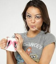 Fancy Funny glass drinking drink straw goggles specs party kid kids juice eye