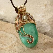 New Tara Mesa Rough Emerald Oval Slice Embellished Pendant