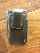 Brown Leather Carrying Case Belt Clip Holster fits small camera or iPhone 3