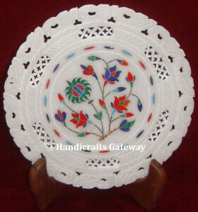 Carving Designer Marble Inlay Decorative Plate, Latest Design Marble Inlay Plate