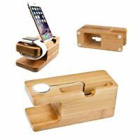 Bambus Holz Ständerhalter für iPhone Apple Watch Base Docking Phone Zubehör