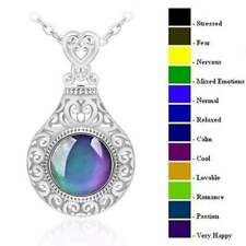 Beautiful Multi Colour Changing Moodstone  Silver Pendant Necklace & Gift Bag