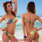 Bikini donna costume da bagno mare fascia petali due pezzi bandeau nuovo G613
