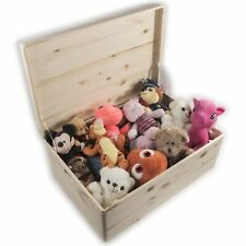 XXLarge Wooden Toy Chest Trunk Storage Box With Hinged Lid & Handles / Unpainted