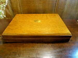 ANTIQUE EMPTY WOODEN CANTEEN/CUTLERY BOX with INSET BRASS CARTOUCHE - 35.2cms