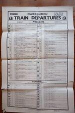1971 Harpenden Train Departures Railway Timetable Poster St Albans Luton