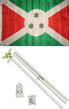 3x5 Burundi Flag White Pole Kit Set 3'x5'
