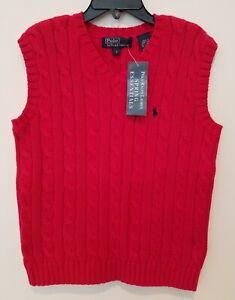 POLO Ralph Lauren Boys Red Cable Knit Sweater Vest 100% Cotton. Sz 7-New