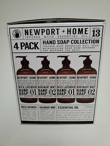 Newport + Home 4 Pack Hand Soap 16 oz each Wild Lavender Rosemary Mint - Glass