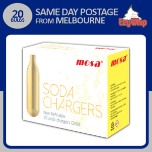 20 BULBS MOSA SODA CHARGERS 10 PACK X 2 WHIPPER CO2 CARBON DIOXIDE SYPHON