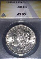 1885-O Morgan Silver Dollar ANACS MS63 , Clean For The Grade, Issue Free