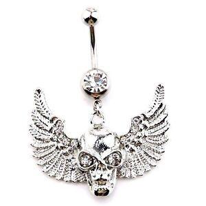 Skull Wings Dangle Navel Belly Piercing Jewellery Bar Ring Crystal Gem Goth Punk