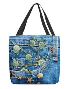 Turtle In Pocket Tote Bag, Turtle Canvas Tote Bag, Turtle Shoulder Bag For Woman