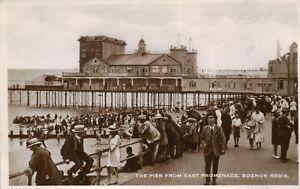 Sussex Postcard C1935 Real Photo Bognor Regis Pier Cinema Tea Gardens People Hat