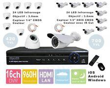 KIT vidéo surveillance CCTV DVR Enregistreur 4CH 8CH ou 16CH + Caméras LED NUIT