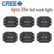 CREE 6pcs 18W Flush Mount Led Work Light Cube Flood SUV Offroad 4WD Truck Boat