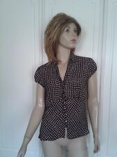 BROWN BLOUSE WITH WHITE SPOTS SIZE 8 CAP SLEEVES