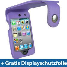 Lila PU Cuero Bolso de protección para Apple iPod Touch 4g 4te gen 8/32/64gb, funda protectora, funda