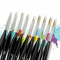 9X Miniature Paint Brush Set Professional Weasel Hair Fine Detail Art Nail Model
