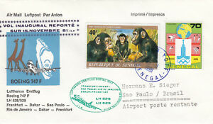 (20807) Senegal Lufthansa Cover Frankfurt Dakar Sao Paulo Rio de Janeiro 1981