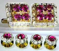 Fuchsia Tuxedo Square Cufflinks & Round Studs Set Made With Swarovski Crystals
