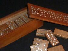 Superb Vintage Wooden Domino Set in Original Wooden Case, 1930s