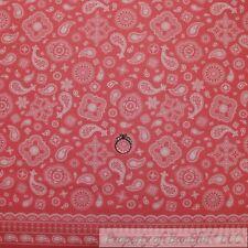 BonEful Fabric Cotton Quilt Pink Cow*Girl Bandana Paisley Flower Border 99 SCRAP