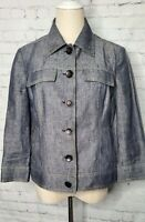 Kasper Denim Linen Blazer. NEW. Size 6