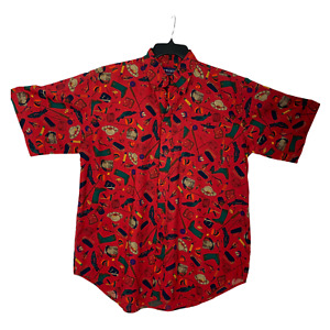 Twickers Men Shirt Short Sleeve Button Front Fishing Pattern Red Cotton Size L