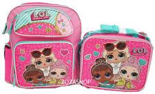 "L.O.L Small Backpack 12"" & Lunch bag 2 pc set Pink School Bag Girls LOL"