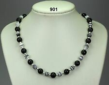 "Black onyx agate 10mm bead necklace,black/white striped turkey turquoise 20""+2"