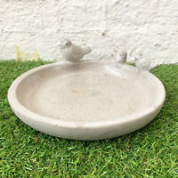 Speckle Concrete Bird Bowl Outdoor Bird Bath Food Feeder Dish Sculpture Ornament