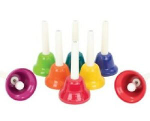 Hand Bells 8 Note Diatonic Percussion Plus set of 8 hand bells EXC Cond