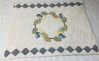 Patchwork Quilt Wall Hanging, Appliquéd Leaves, Wreath, Small Squares, Blue
