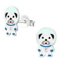 Astronaut Space Dog Hypoallergenic 925 Sterling Silver Stud Earrings For Kids