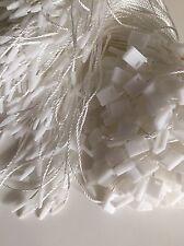 100 x White Tag Clothing Label Fastener String Thread Square