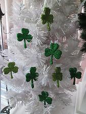 "10 pc. Pkg. 2"" Small Assorted Green Irish Shamrocks St. Patrick's Day Ornaments"