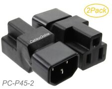 2-Pack IEC 320 C14 Male to Nema 5-15R Female Power Adapters, PC-P45-2