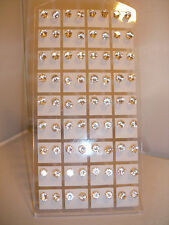 Job Pairs Gold Colour Clear Round 6mm Crystal Stud Earrings - Wholesale