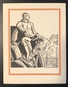 Rockwell Kent ex Libris Bookplate - Art Deco Scholar at Sea - Unused, 1930s