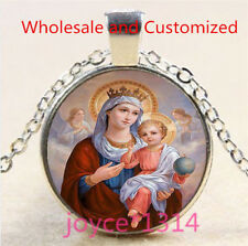 Mary and Baby Jesus Cabochon Tibetan silver Glass Chain Pendant Necklace #5057