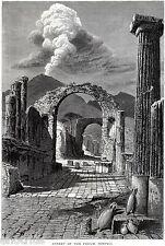 Pompei: Strada del Foro,con Vesuvio. Vesuvius. Stampa Antica + Passepartout.1878