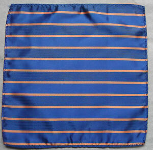 Hankie Pocket Square Handkerchief MENS Hanky ROYAL BLUE ORANGE STRIPED