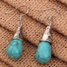 Boho Vintage Jewelry Silver Turquoise Stone Dangle Tear Hook Drop Earrings Stud