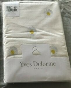 Yves Delorme Queen Duvet Cover Chamomile Floral Yellow White Reversible Cotton