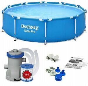 BESTWAY STEEL PRO 305 x 76cm Gartenpool Schwimmbecken Frame Pool + Filterpumpe
